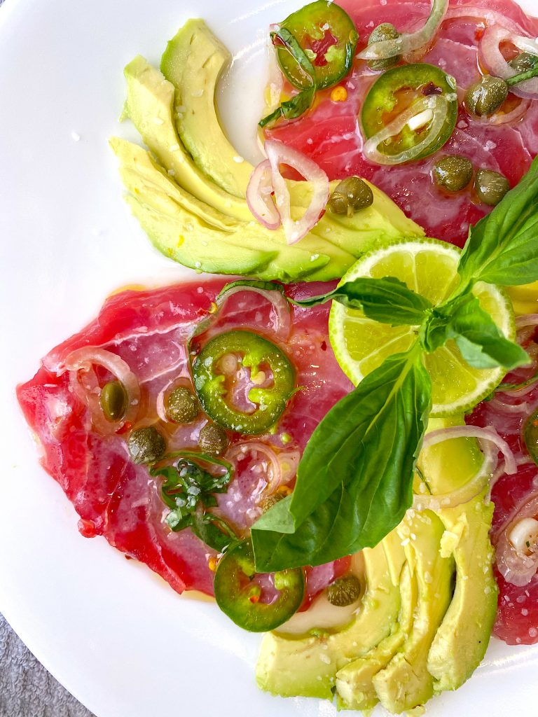 tuna crude with avocado slices