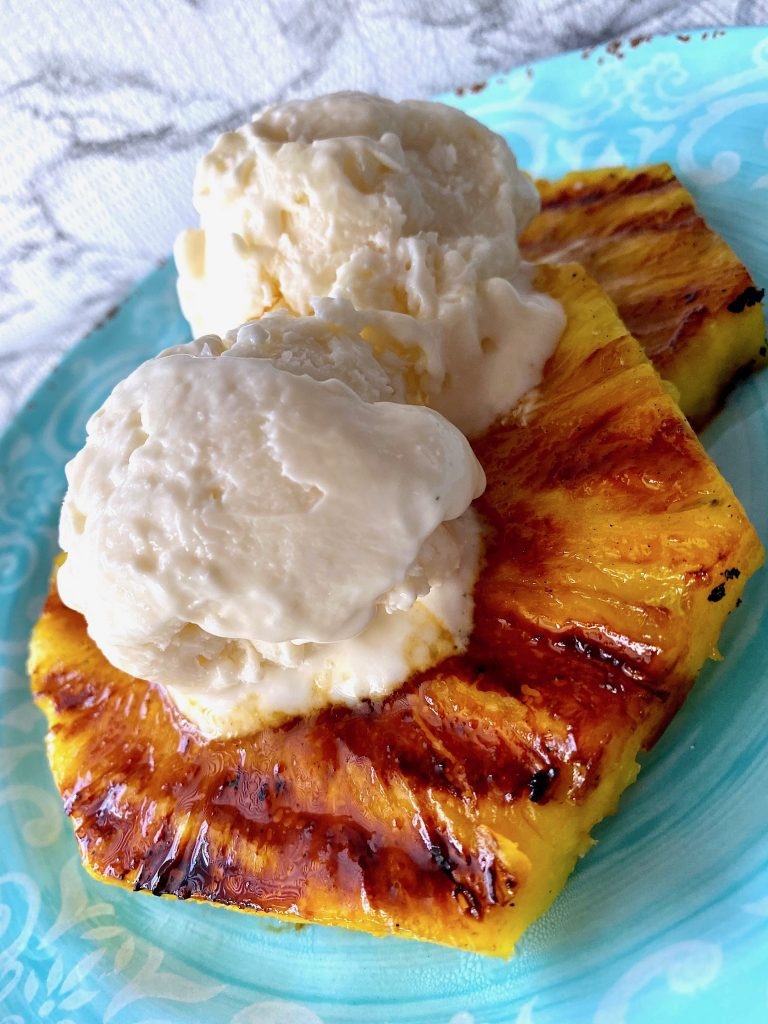 grilled pineapple with coconut greek yogurt ice cream