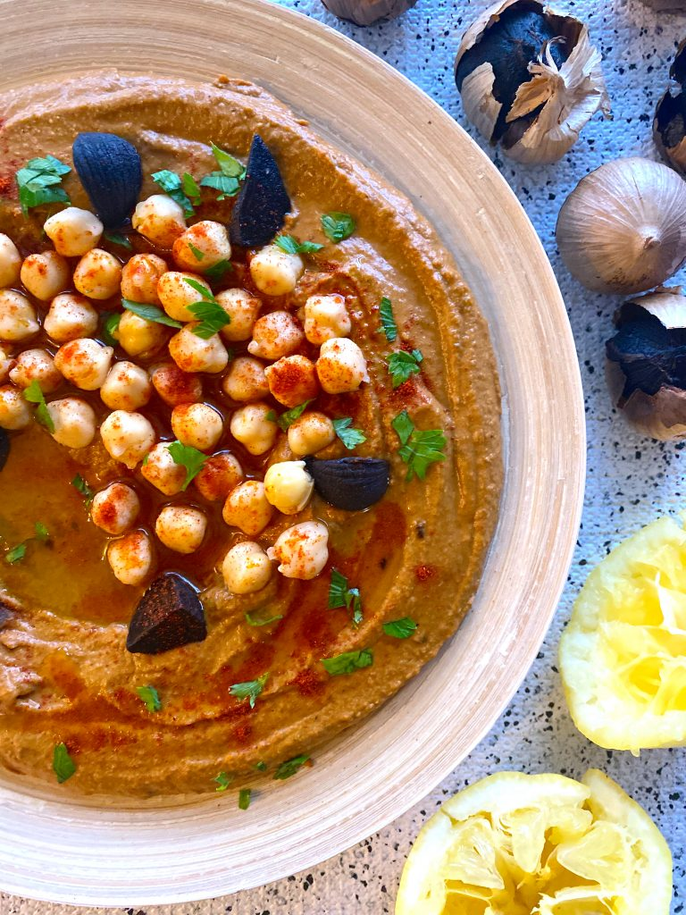 hummus with black garlic